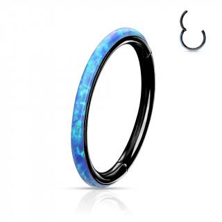 Anneau segment clip Noir à bande d'Opale Bleue (acier haute précision)
