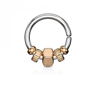 Anneau (tordable) à perles style mécanique - Cuivré
