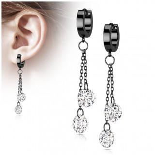 Anneaux d'oreilles créoles à chainettes et zirconiums en acier Noir