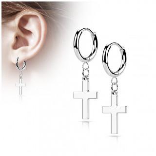 Anneaux d'oreilles en acier Argenté à croix latine suspendue (paire)