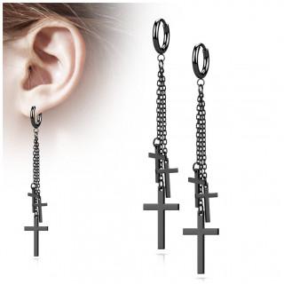 Anneaux d'oreilles en acier Noir à croix enchainées