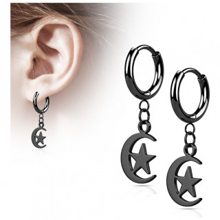 Anneaux d'oreilles en acier Noir à lune étoilée suspendue (paire)
