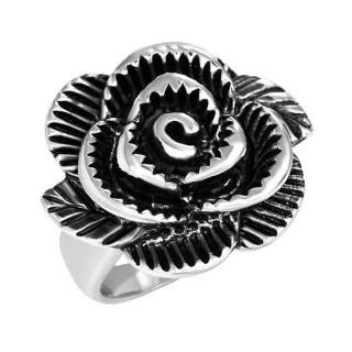 Bague femme acier fleur noire sculptée