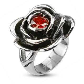 Bague femme en acier à rose noircie avec pierre rouge