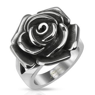 Bague femme en acier surmontée d'une rose noircie