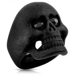 Bague homme à tête de mort en acier noir mat avec yeux sertis