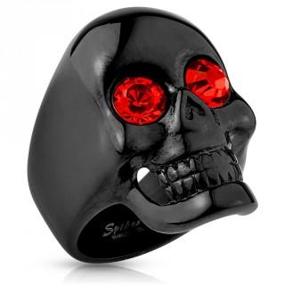 Bague homme à tête de mort noire aux yeux rouges