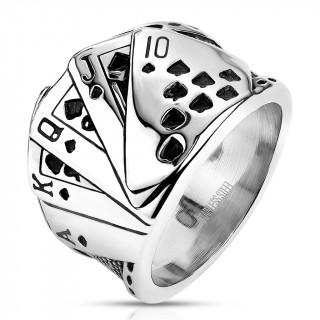 Bague homme acier à 5 cartes suite royale poker