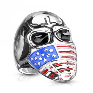 Bague homme acier à crane avec masque USA
