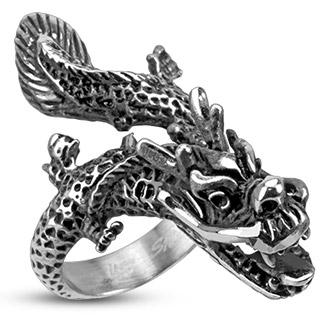 Bague homme acier à dragon asiatique volant
