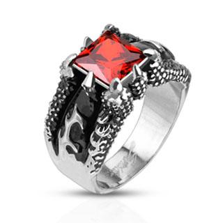 Bague homme acier à griffes de dragon et pierre rouge