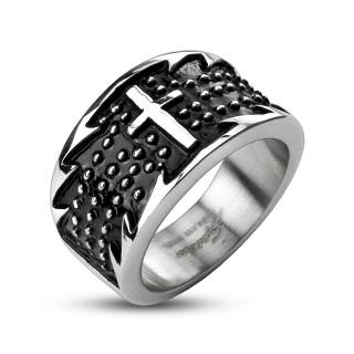 Bague homme acier anneau dentelé avec croix
