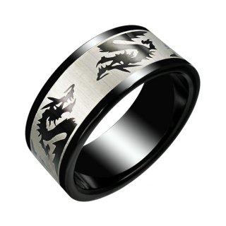 Bague homme acier noire avec dragons