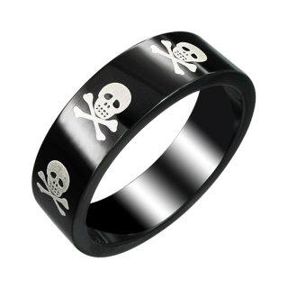 Bague homme acier noire avec squelette pirate