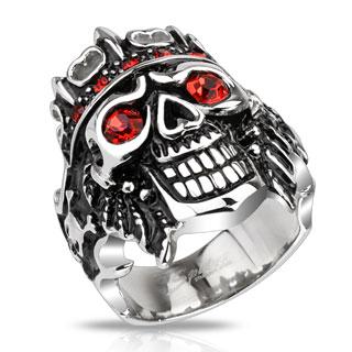 Bague homme acier roi squelette avec pierres rouges