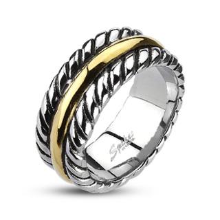 Bague homme acier style corde avec anneau doré
