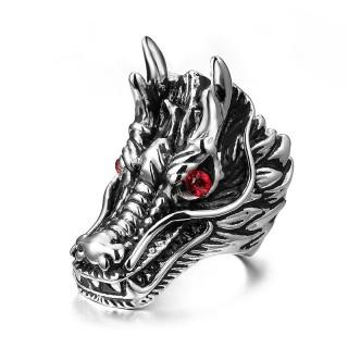 Bague homme acier à tête de dragon oriental