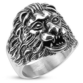 Bague homme acier à tête de lion scuptée