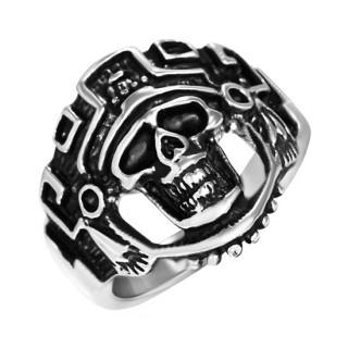Bague homme acier tête de mort Aztek