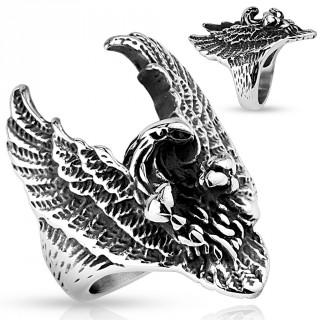 Bague homme biker en acier avec aigle aux ailes déployées