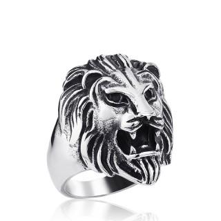 Bague homme en acier à tête de lion gueule ouverte