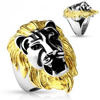 Bague homme en acier avec tête de lion à crinière dorée