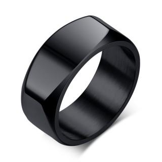 Bague homme en acier design cendrier - Noir
