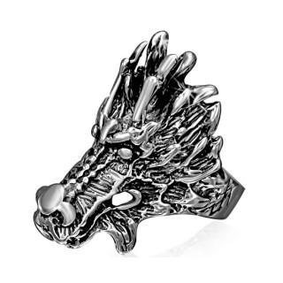 Bague homme gothique acier tête de dragon chinois