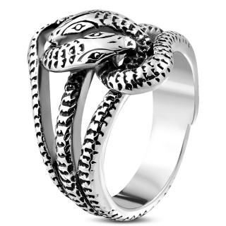 le dernier 9eddd 7a7e5 Achat Bague homme gothique en acier en forme de serpent pas cher