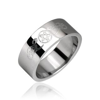 Bague homme gothique pentagramme et signes tribaux