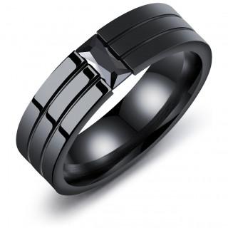 Bague homme noire en acier à 3 bandes et pierre rectangulaire