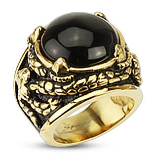 Bague homme style antique en acier doré et noirci avec onyx