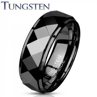 Bague homme tungstene Black Wedge