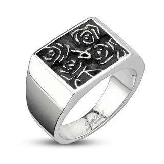 Bague mixte acier à hieroglyphe roses noires