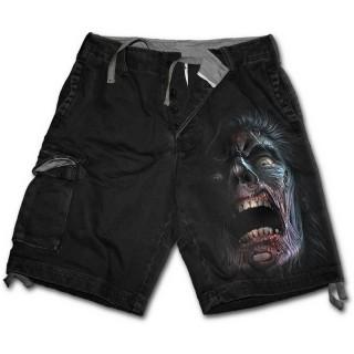 """Bermuda gothique homme """"marche des morts"""" avec zombies et éclairs"""