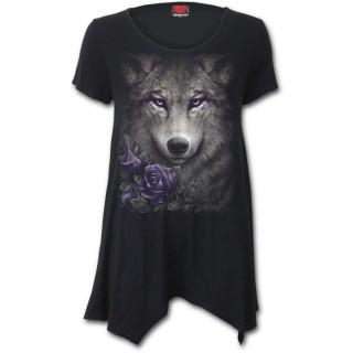 Blouse femme goth-rock à Loup aux roses