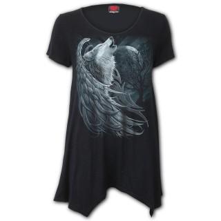 """Blouse femme noire """"WOLF SPIRIT"""" à loup avec ailes d'ange"""