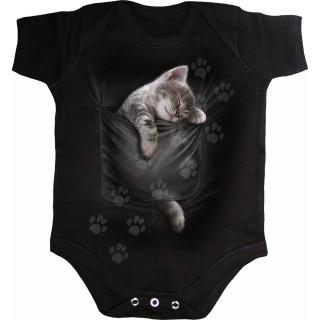 Body bébé à empreintes de pattes et poche chaton