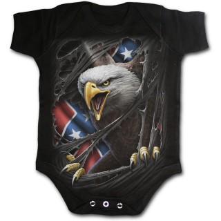 Body bébé gothique noir avec Aigle et drapeau Rebelle