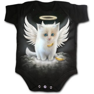 Body bébé gothique noir avec chat blanc en ange