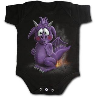 Body bébé gothique noir avec dragon violet pétant des flammes
