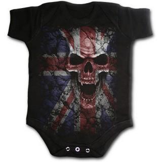 Body bébé rock noir avec tête de mort sur drapeau Union Jack