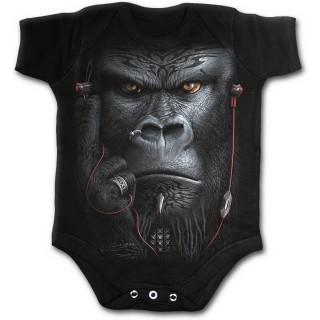 Body bébé gothique noir à gorille tatoué tribal avec écouteurs