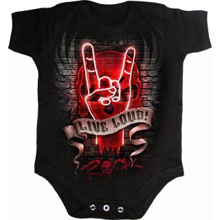 "Body bébé à main rock lumineuse ""LIVE LOUD"""