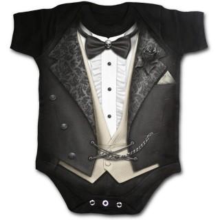 Body bébé noir gothique imitation tenue de smoking vampire