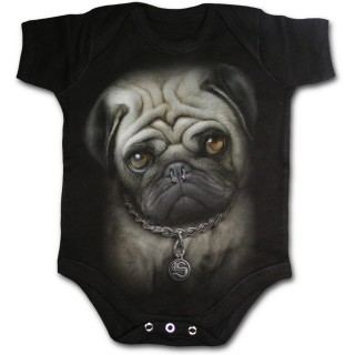 Body bébé noir punk-rock à chien bulldog avec piercing au nez
