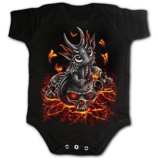 Body bébé à petit dragon sur crane et lave craquelée