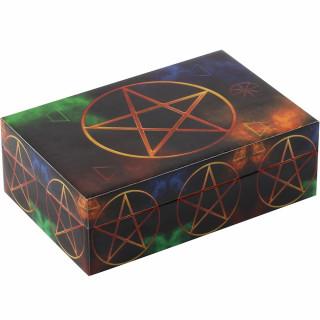 Boîte en bois éléments à pentagramme