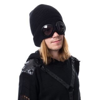 Bonnet gothique noir à lunettes intégrées - Vixxin