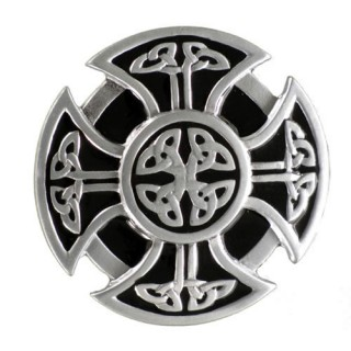 Boucle de ceinture à croix celtique style bouclier